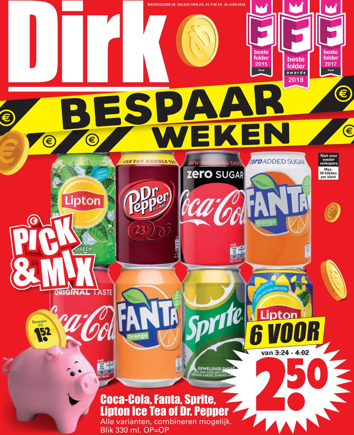 6 blikken frisdrank €2,50 en 3 pakken Mora oven snacks €5 @dirk