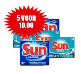 5x Sun vaatwastabletten €10 @ Dirk / Dekamarkt