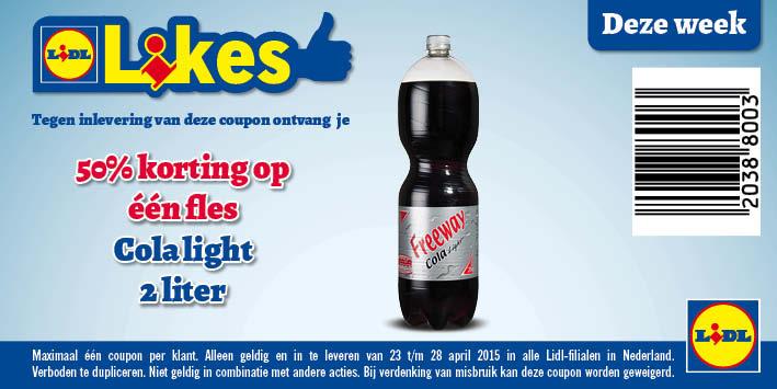 Cola Light Fles 2 Liter 50% Korting