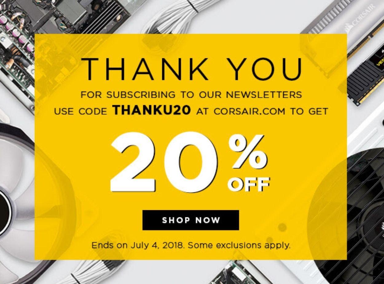 20% korting bij Corsair webstore