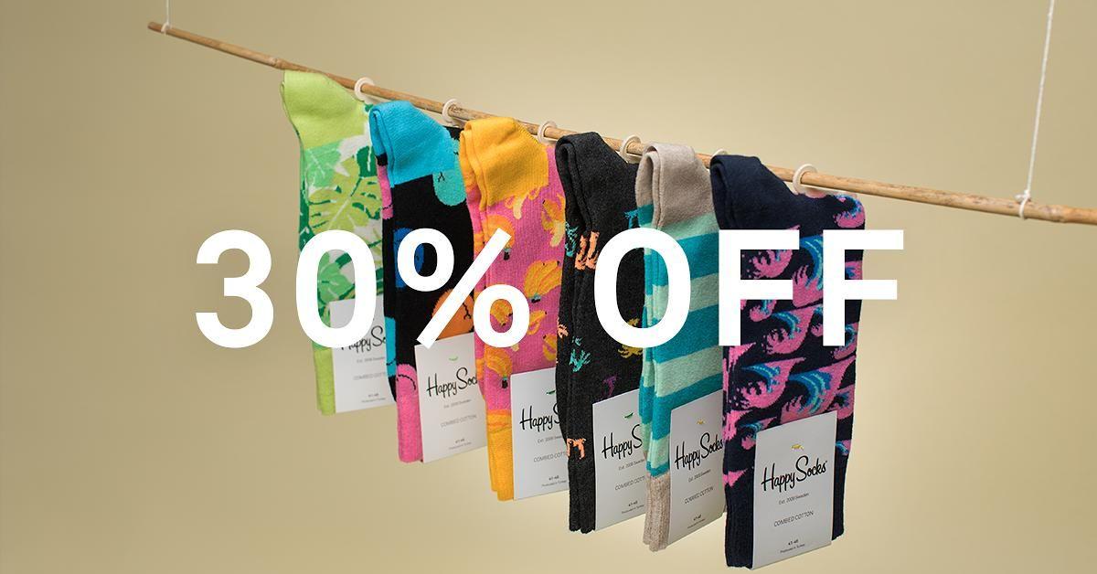 Happy Socks 30% korting, geen verzendkosten