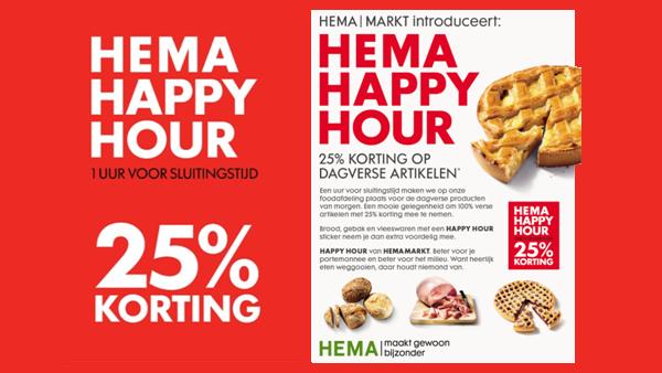 Happy Hour: Een uur voor sluitingstijd 25% korting op dagverse producten @ HEMA