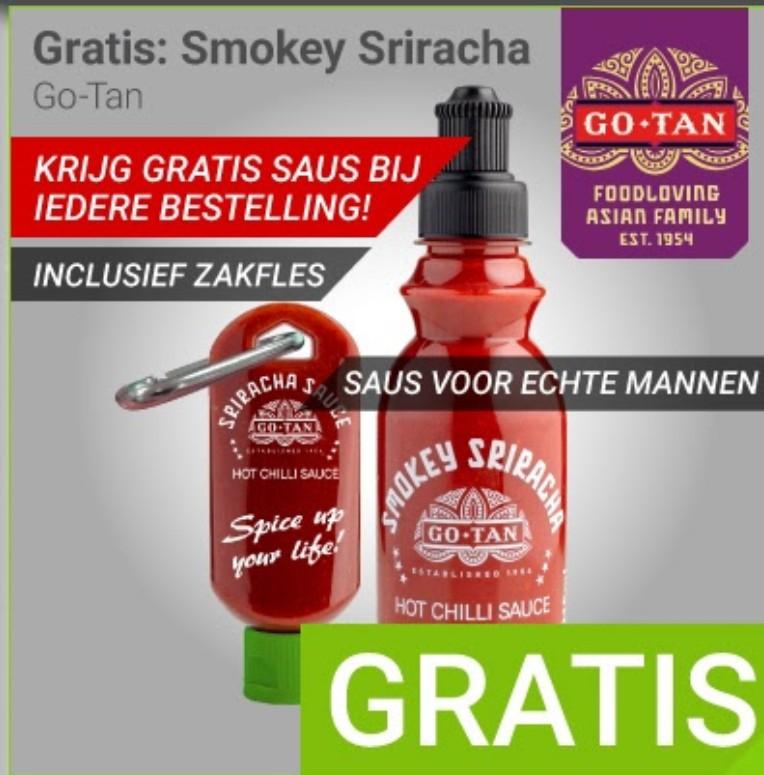 Bij iedere bestelling gratis Go-Tan Smokey Sriracha  + zakfles, saus voor echte mannen  @ Megekko