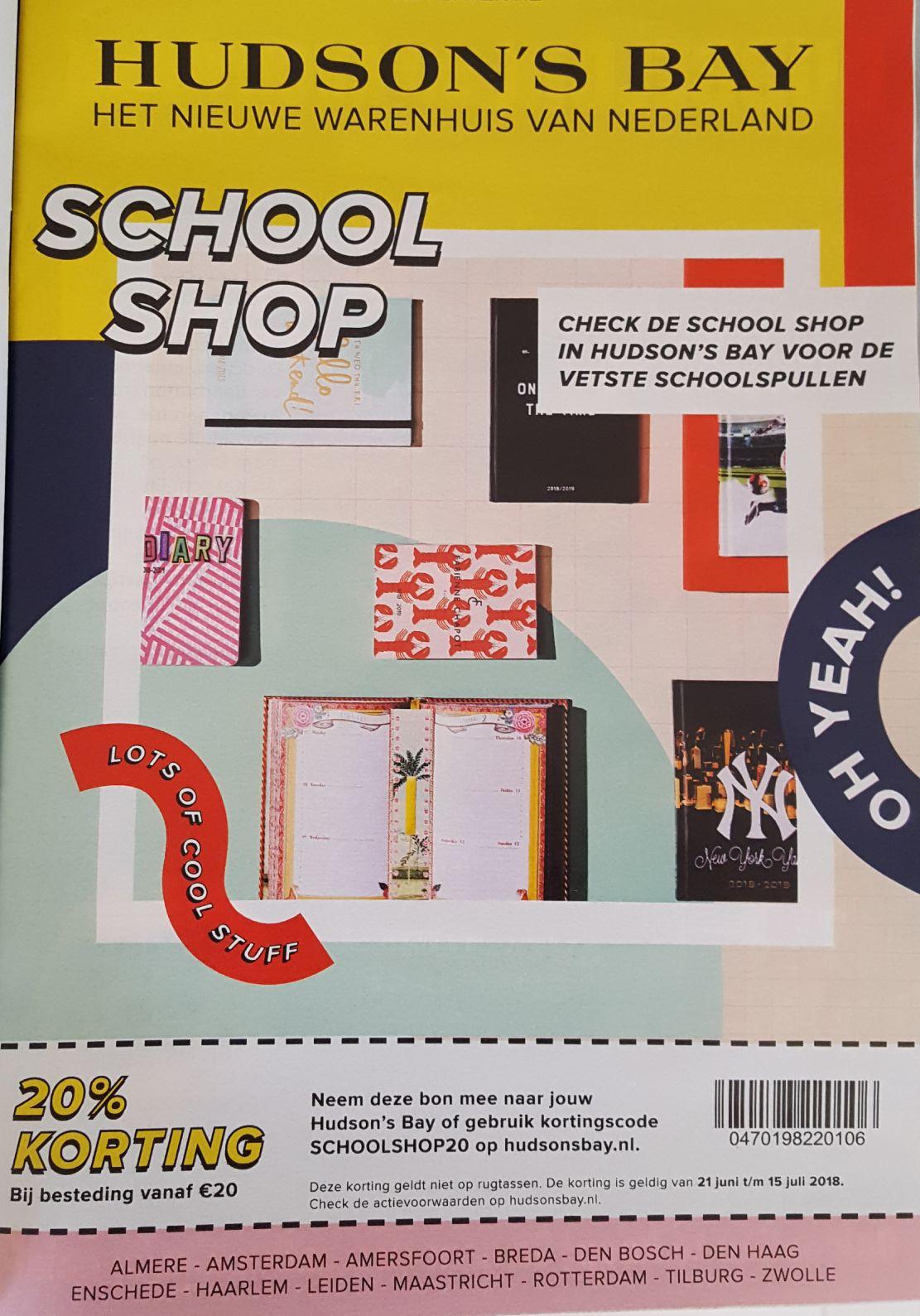 20% korting vanaf €20 in de Hudson's bay schoolshop