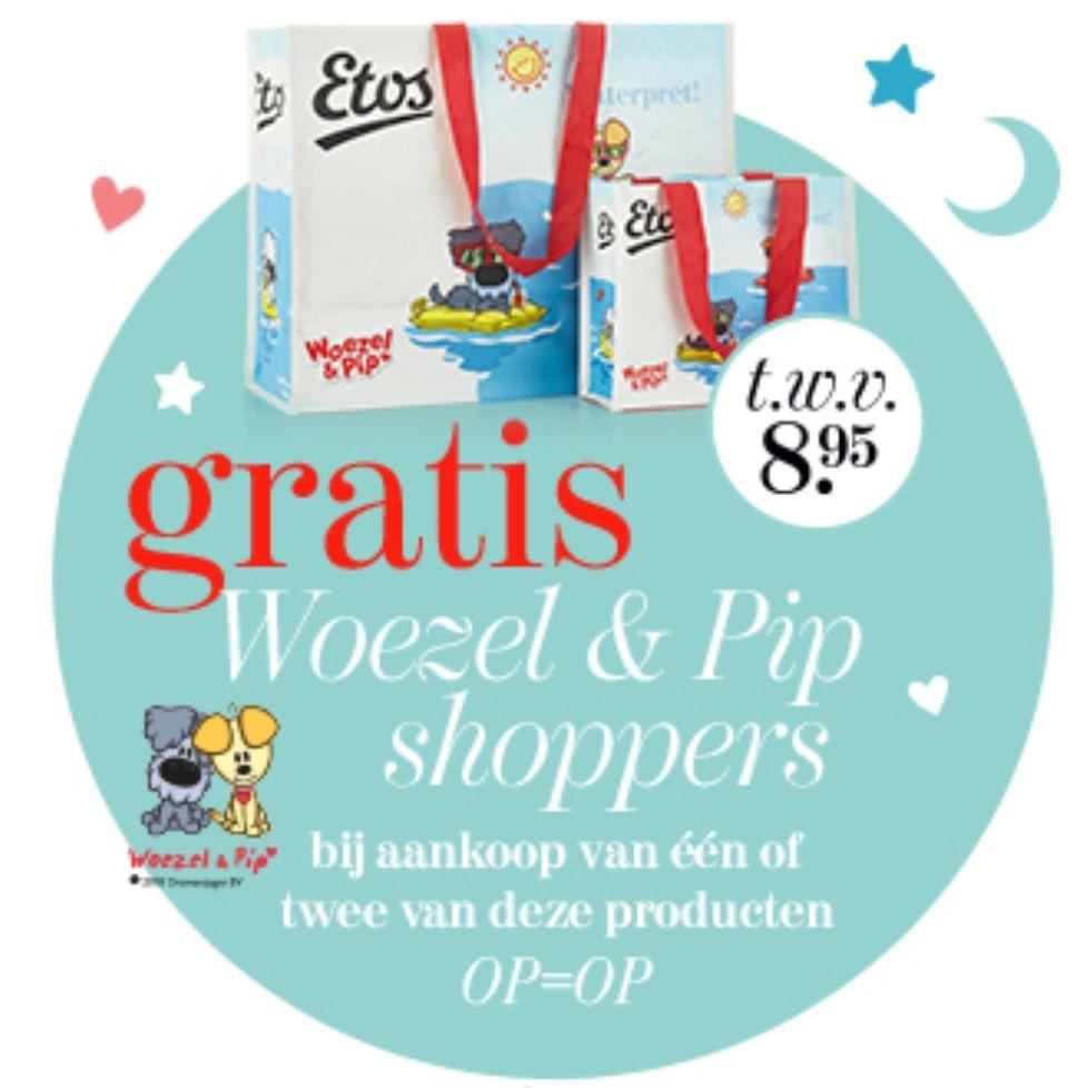 Gratis Woezel & Pip shopper bij aankoop van bepaalde producten bij Etos