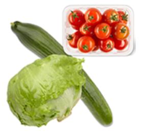 Dirk: 3x ijsbergsla/cherry tomaten 250g bakjes. 1,50eur. -45%. ideaal voor salade fans.