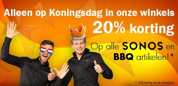 20% korting op alle SONOS en BBQ artikelen op Koningsdag @ PlatteTV Winkels