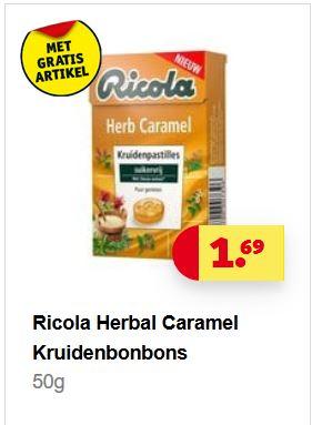 Kruidvat GRATIS verzending bij aankoop van twee Ricola Suikervrij Lemonmint + GRATIS Ricola Herb Caramel
