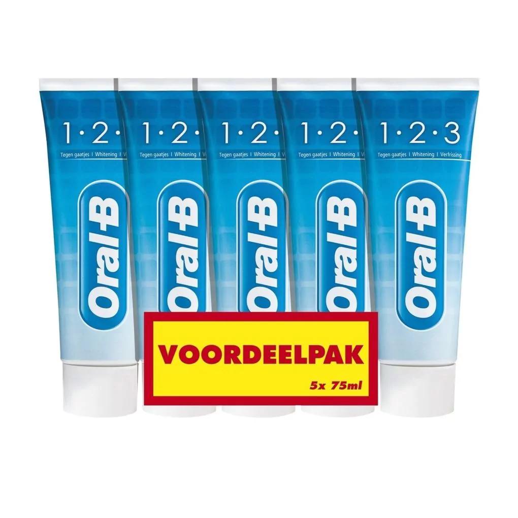 Oral-B 1-2-3 Tandpasta 5 x 75ml 2+2 Gratis @ Kruidvat