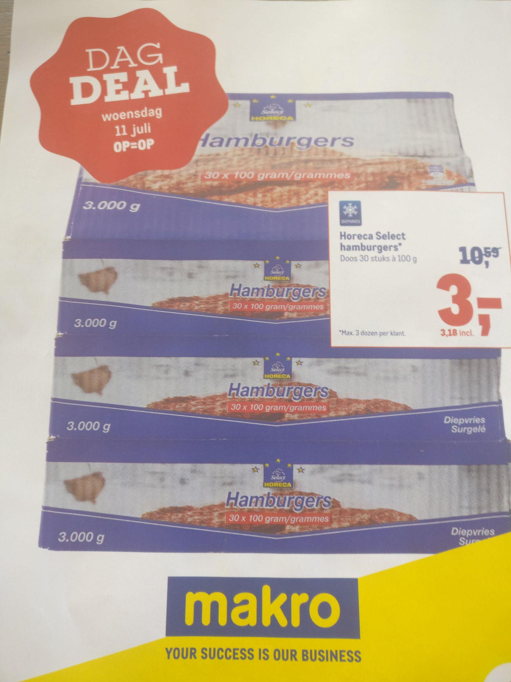 Dagdeal Makro 11 juli: 30 hamburgers voor €3,18!