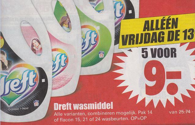 Dreft wasmiddel 5 pakken of flacons € 9,- @ Dirk