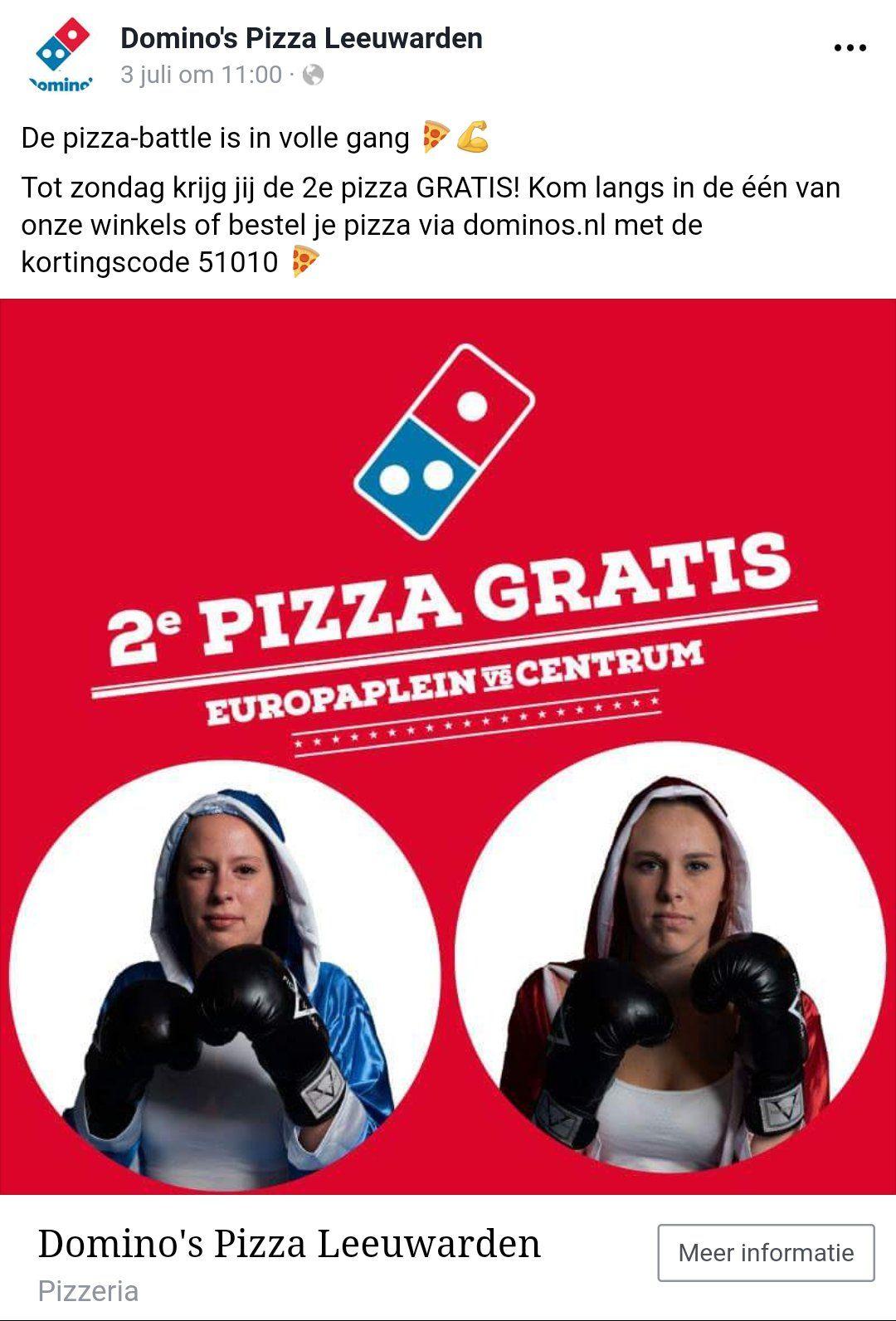 Domino's Leeuwarden pizza battle: 2e pizza gratis met 51010