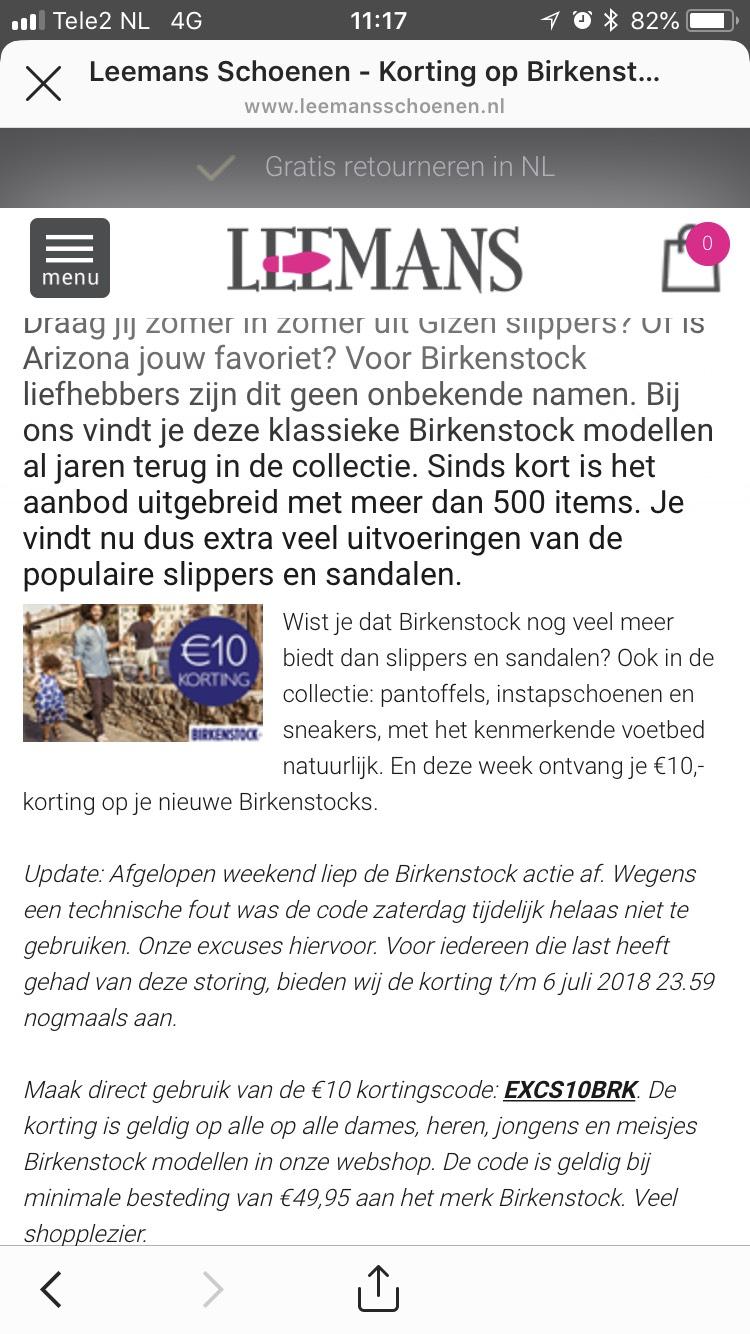 10 euro korting Birkenstock bij Leemans Schoenen