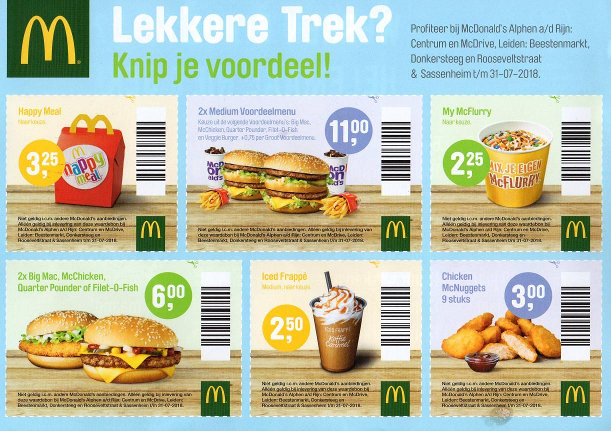 McDonald's EasyOrder coupons voor Leiden, Alphen a/d Rijn en Sassenheim