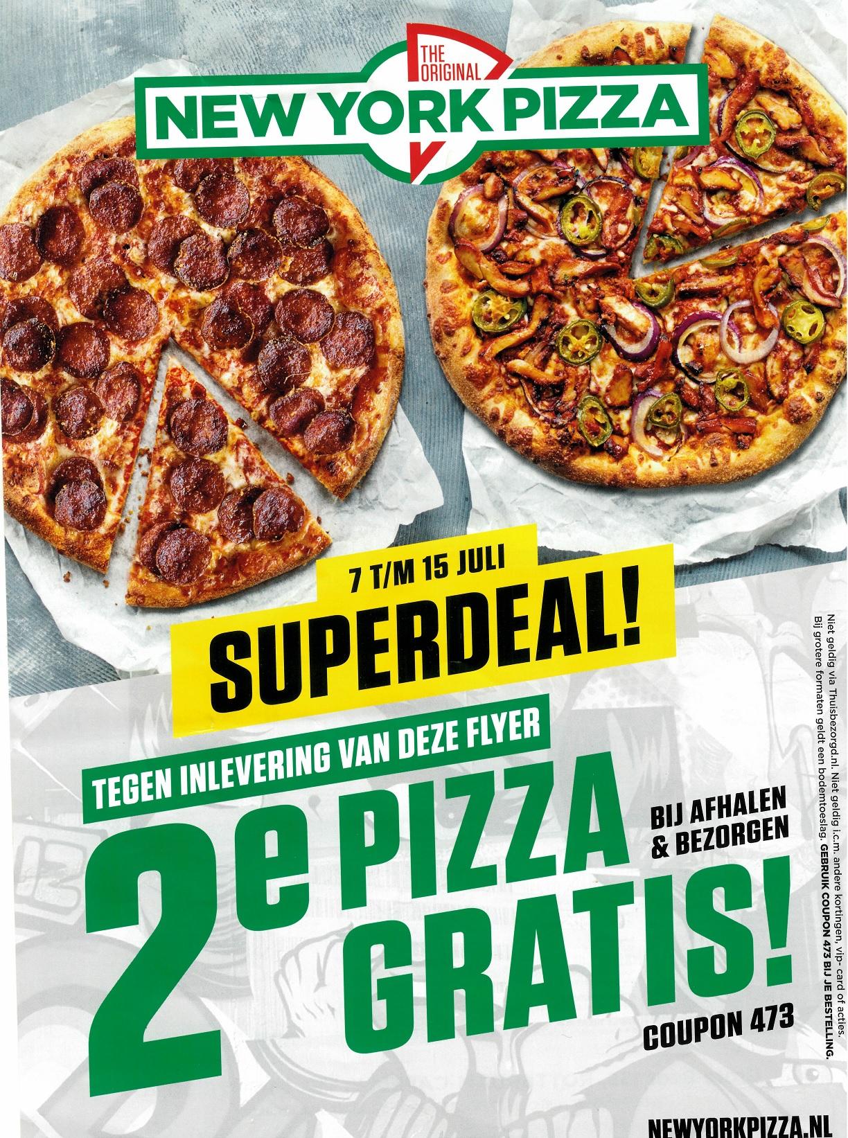 Tweede pizza gratis bij afhalen én bezorgen