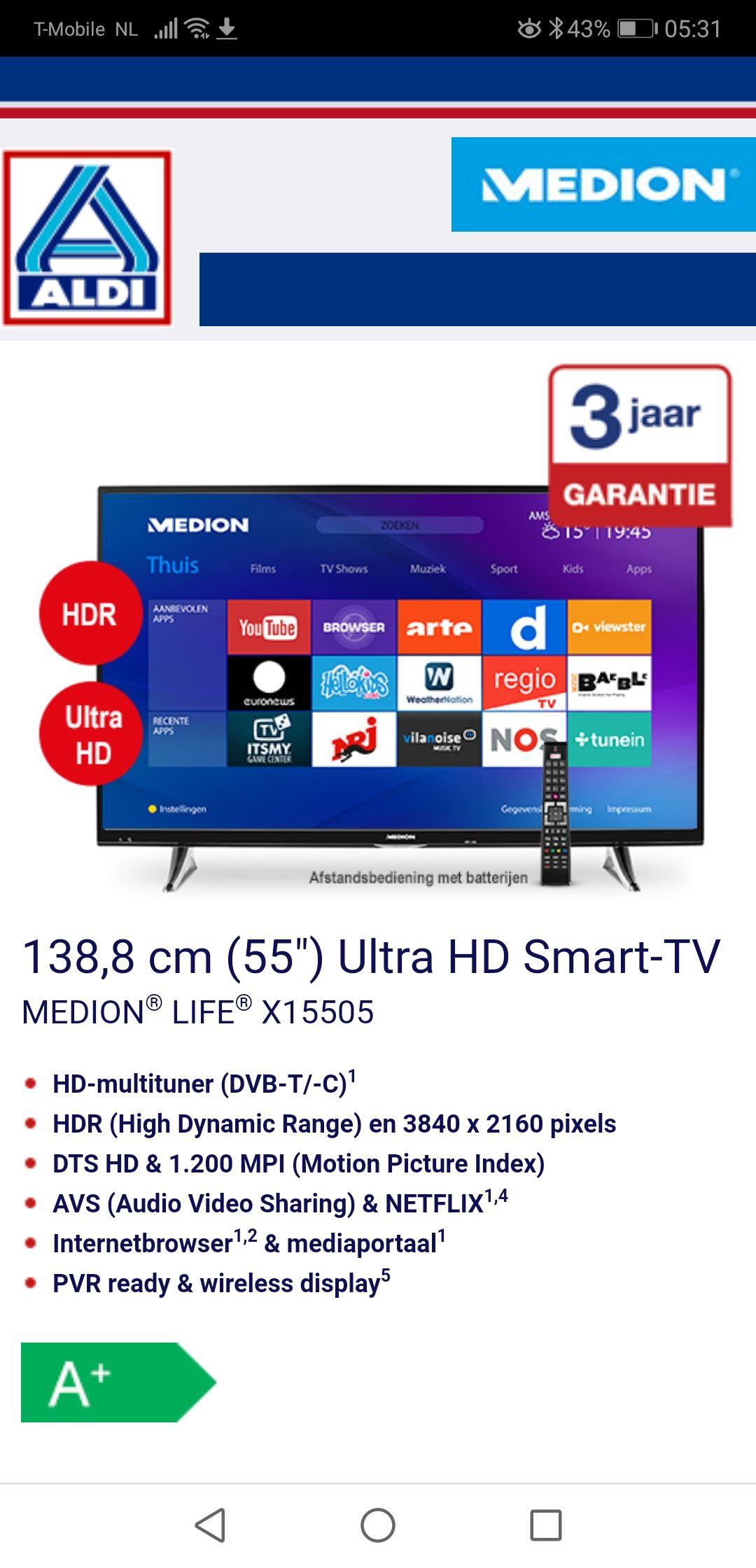 "55"" of te wel 137, 5 CM 4K Ultra HD Medion Smart-TV"
