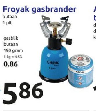 Froyak gas brander @ Action 11 JULI voor 5,86 euro ipv 6,95 euro, gasbus 86 cent