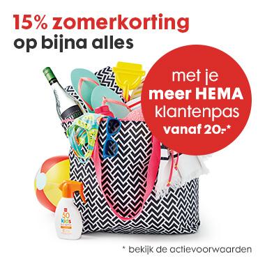 Actie: 15% korting op (bijna) alles (va €20 - met klantenpas) @ HEMA