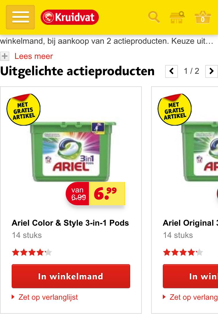 Gratis Ariël 3-in-1 pods (t.w.v. €6,99) bij aankoop @ Kruidvat!