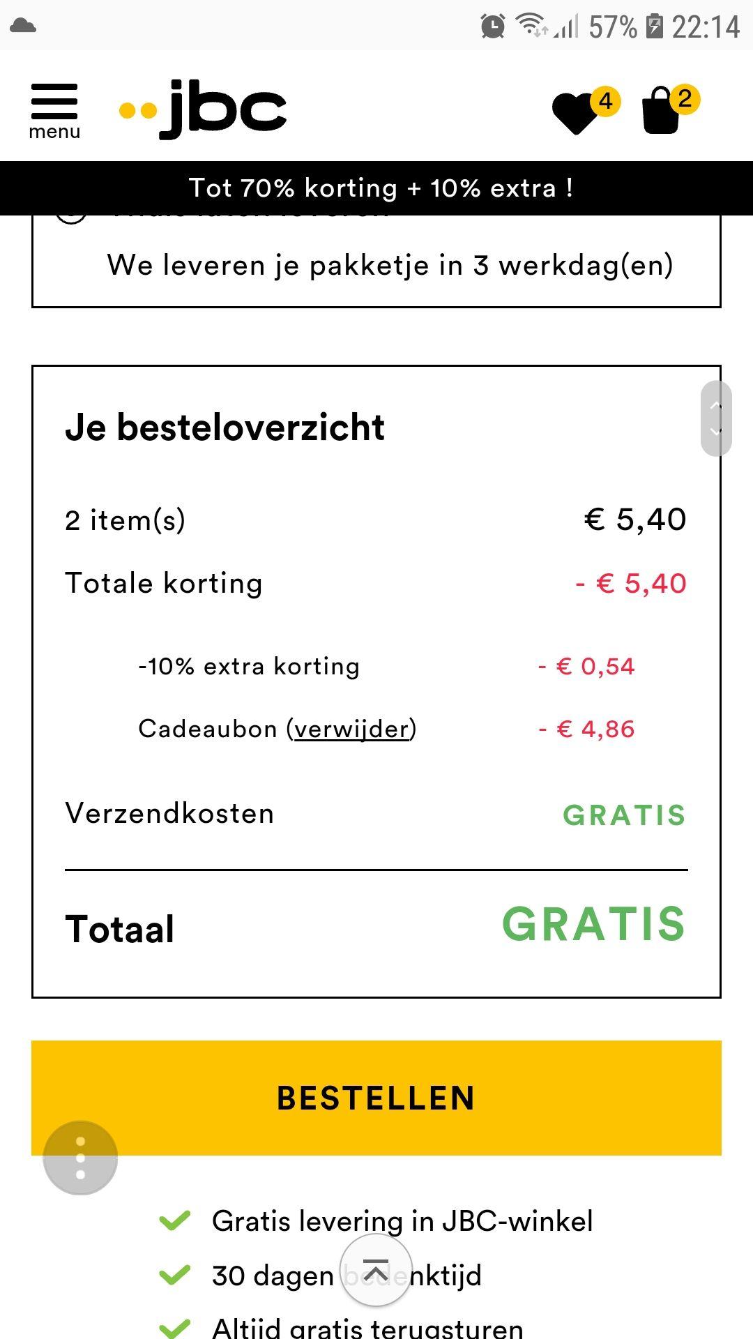 Gratis kleding t.w.v. €5,- @JBC