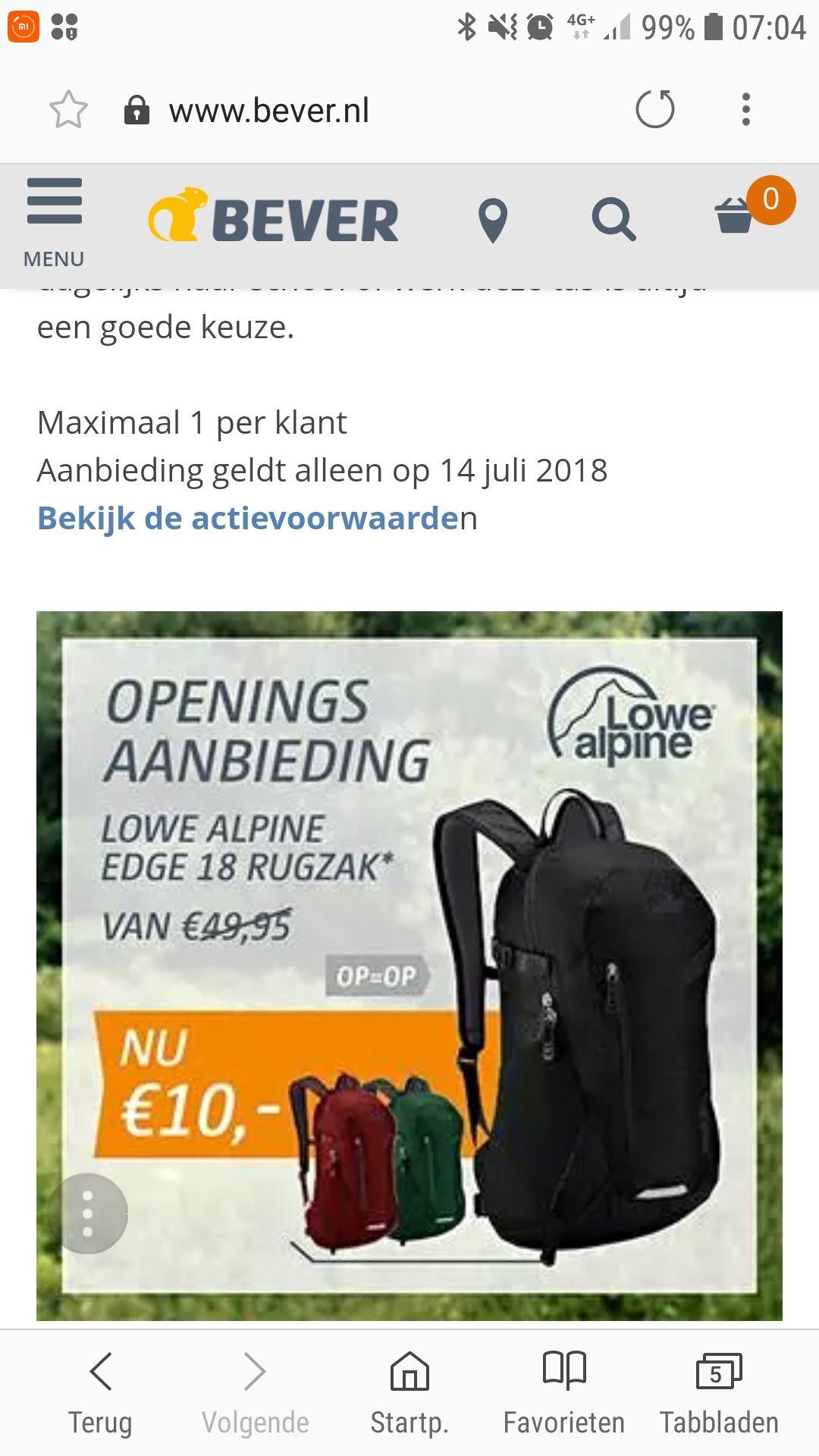 Lowe Alpine tas voor 10,- bij opening bever Rotterdam