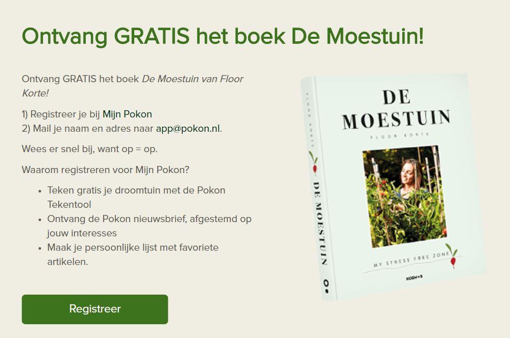 Gratis boek 'De Moestuin' t.w.v. €25 na registreren @ Pokon