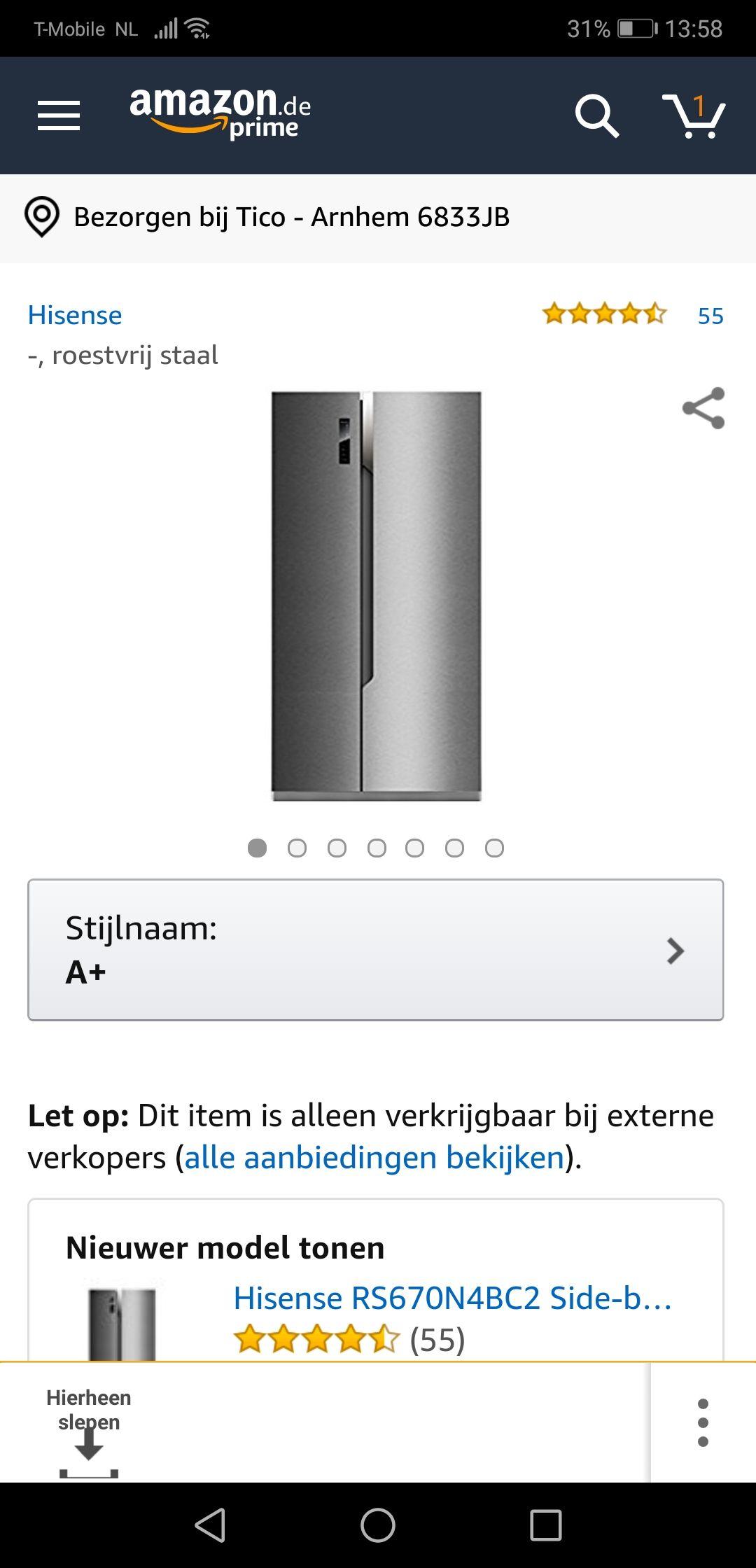 Amerikaanse koelkast Hisense Amazon
