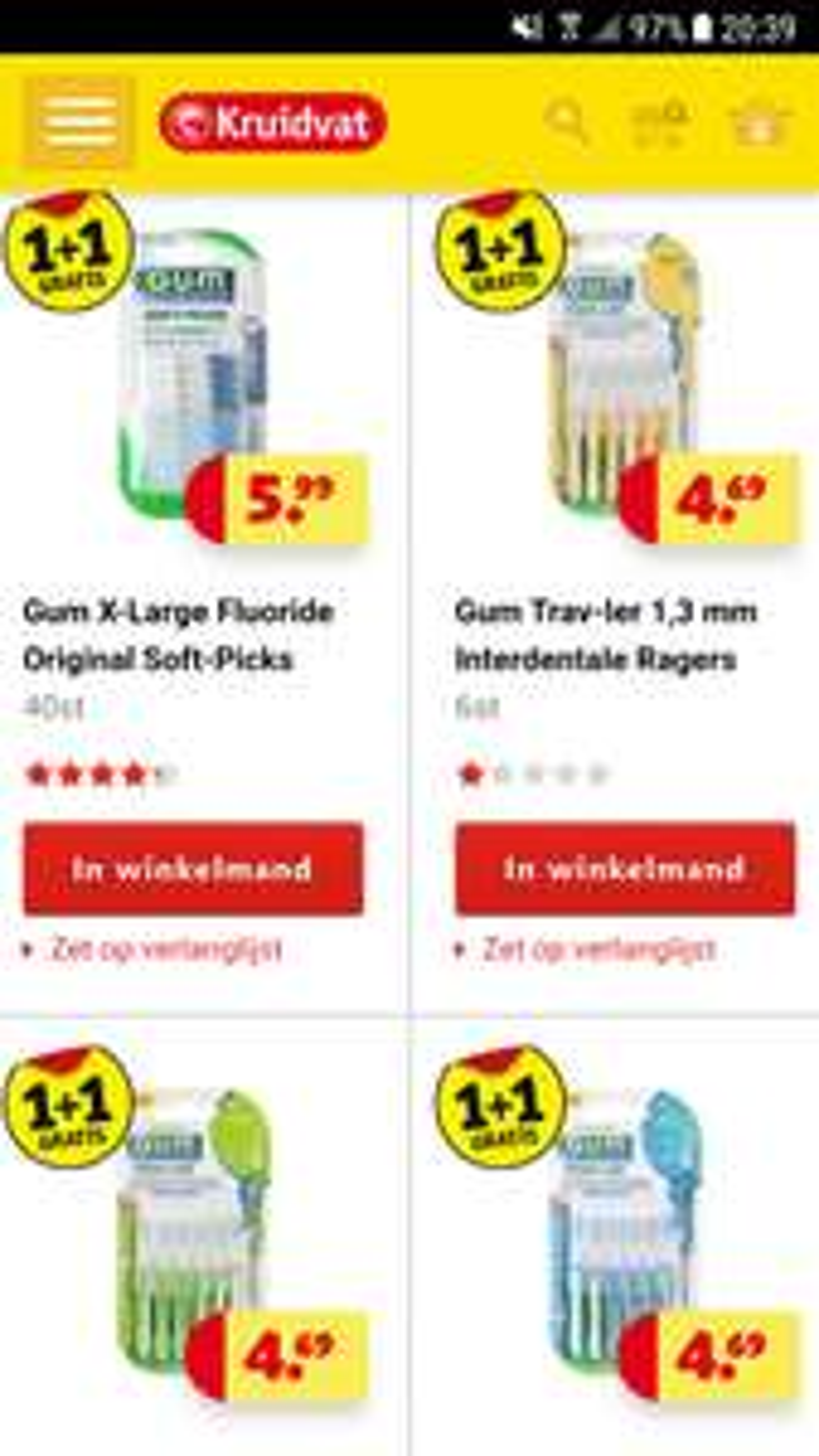 Kruidvat alle Gum ragers 1 + 1 gratis ( Ook bij Trekpleister)