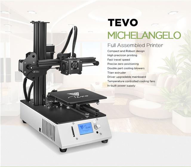 TEVO Michelangelo kant en klare 3D printer voor €190,80. Verzending vanuit Duitsland.