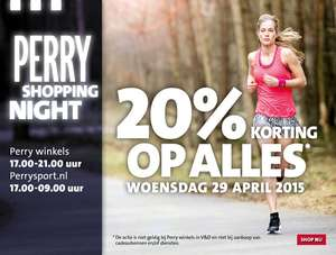 Vanavond Shopping Night met 20% korting op alles @ Perry Sport