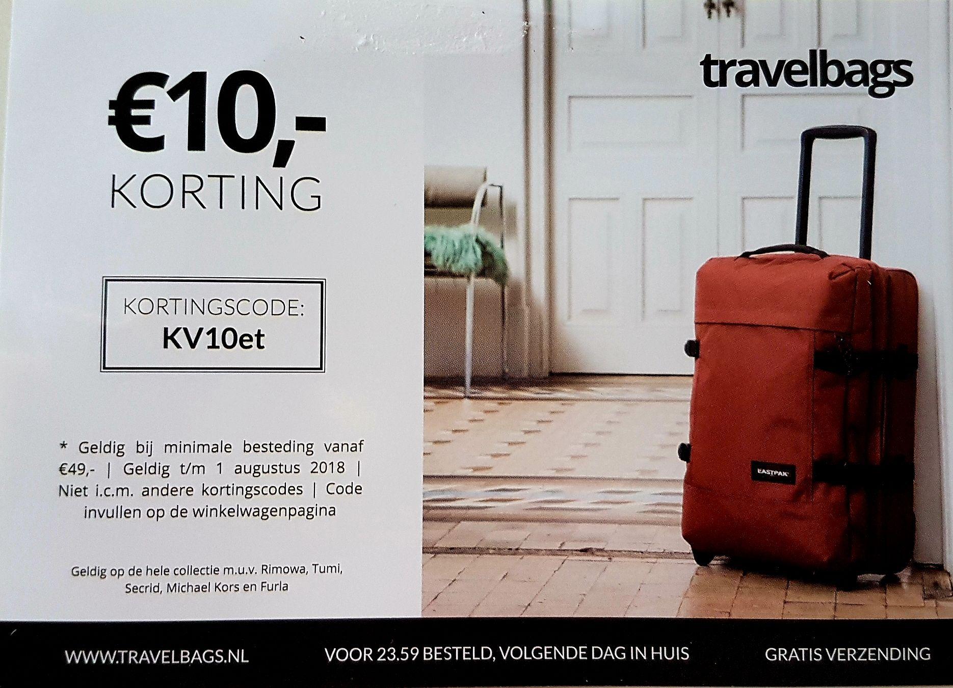 10 euro korting bij Travelbags
