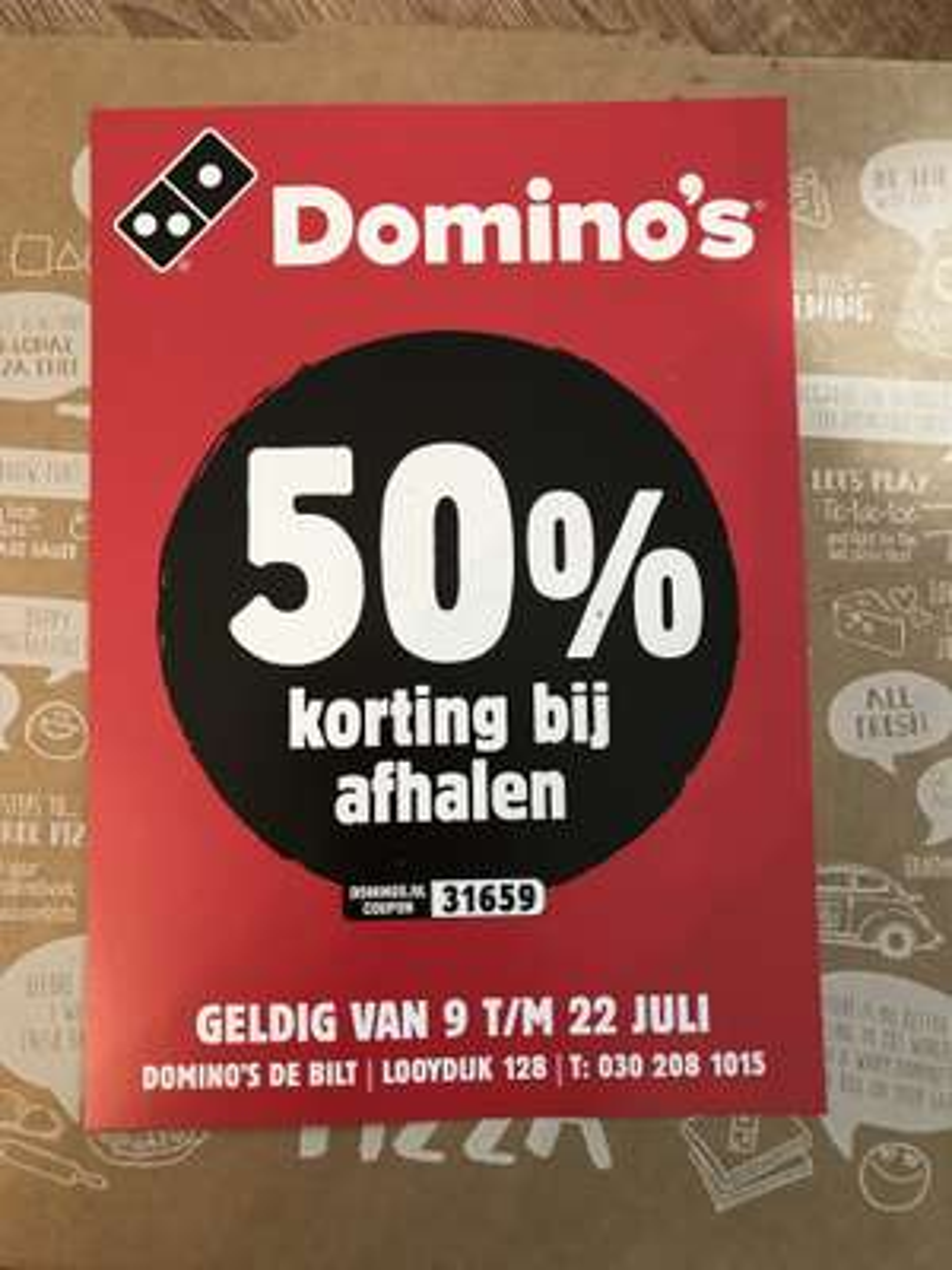 Dominos 50% bij afhalen in de Bilt