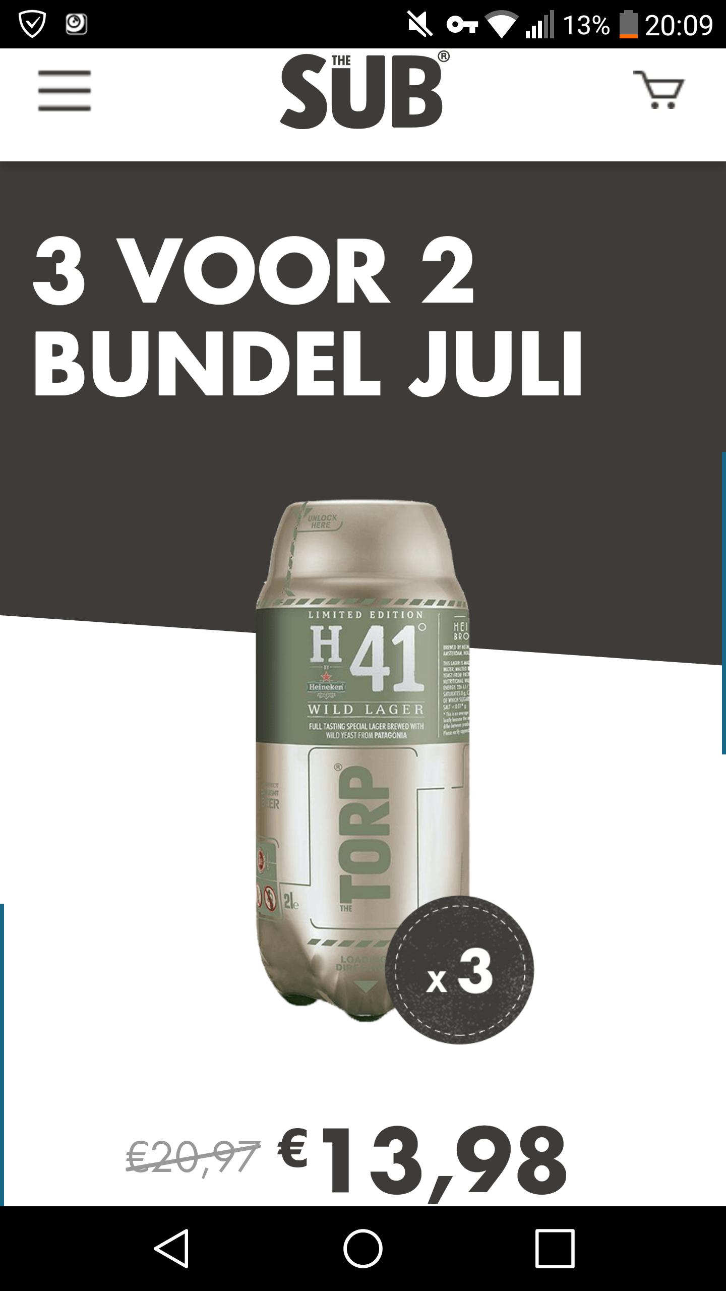 3 voor 2 bundel H41 Wild Lager - Torps voor TheSUB thuistap