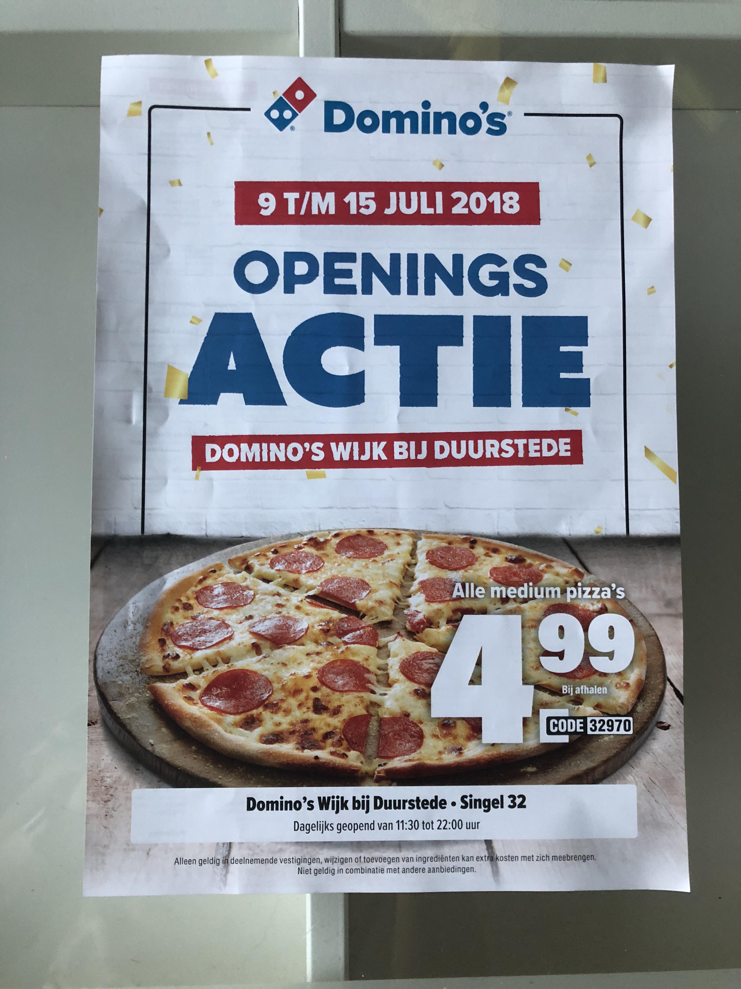 Openings actie Domino's Wijk bij Duurstede