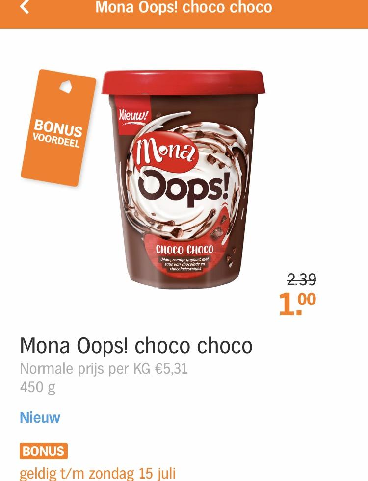 Mona yoghurt met ruim 58% korting! Van €2,39 voor €1,-