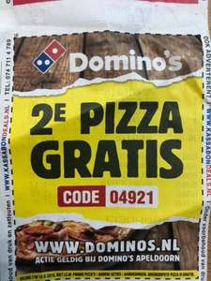 Tweede pizza gratis bij Dominos in Apeldoorn