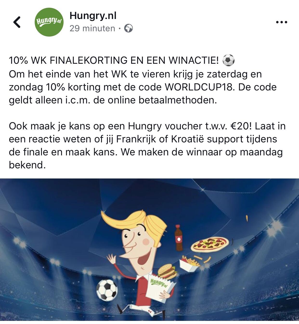 10% WK FINALEKORTING EN EEN WINACTIE!  @ hungry.nl
