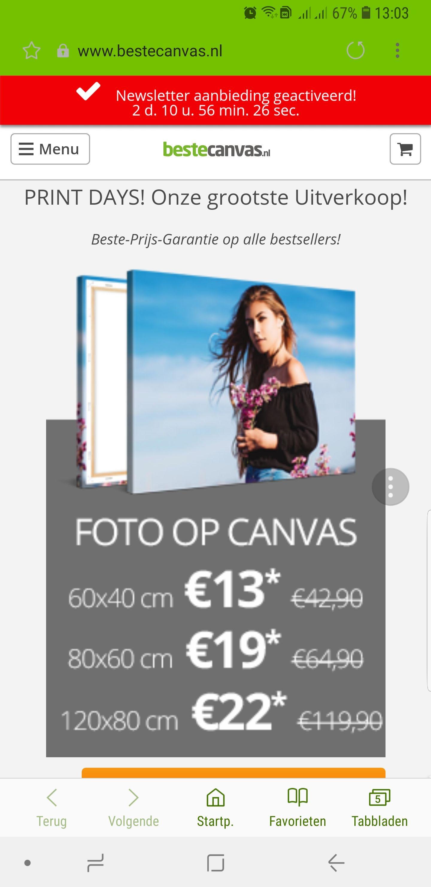 Foto op Canvas 60x40 voor €13.00 of Plexi of Aluminium €19,- Ook andere formaten