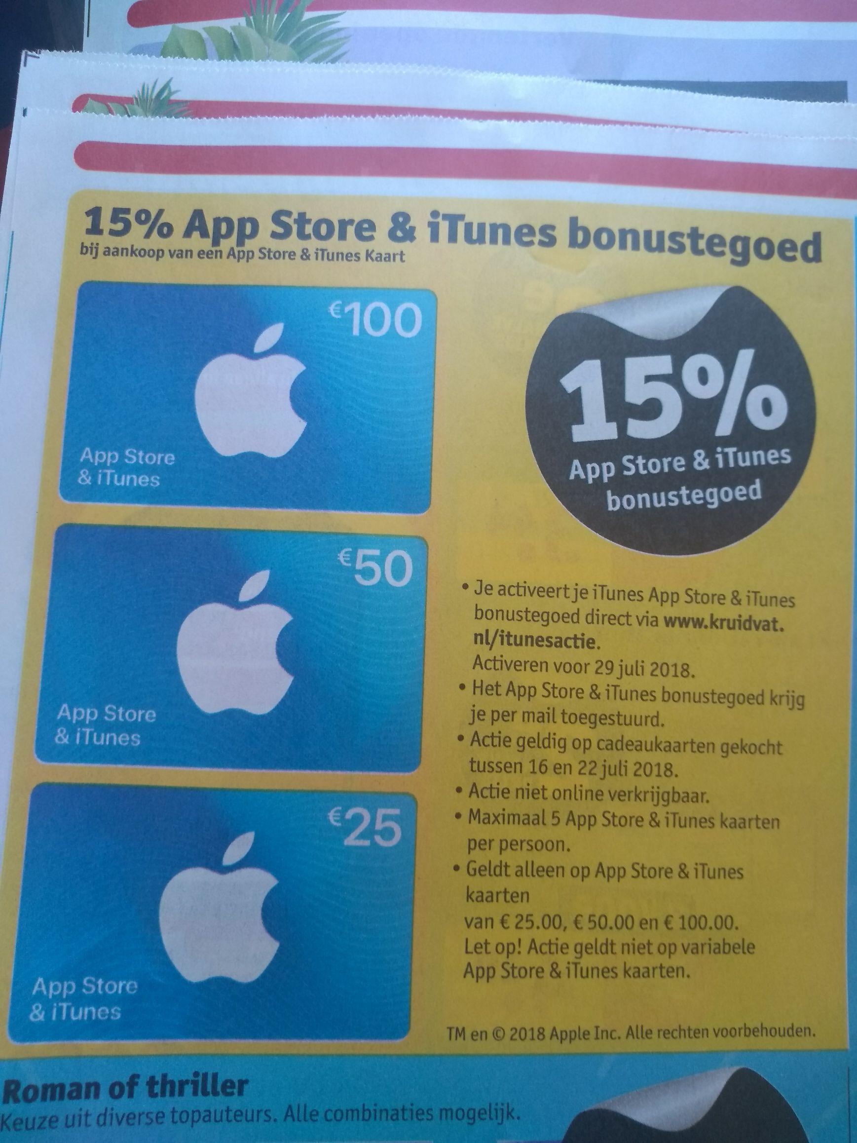 15% App Store & iTunes Bonustegoed @kruidvat