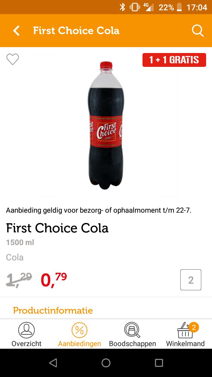 First choice cola1+1 (op aanbiedingsprijs)
