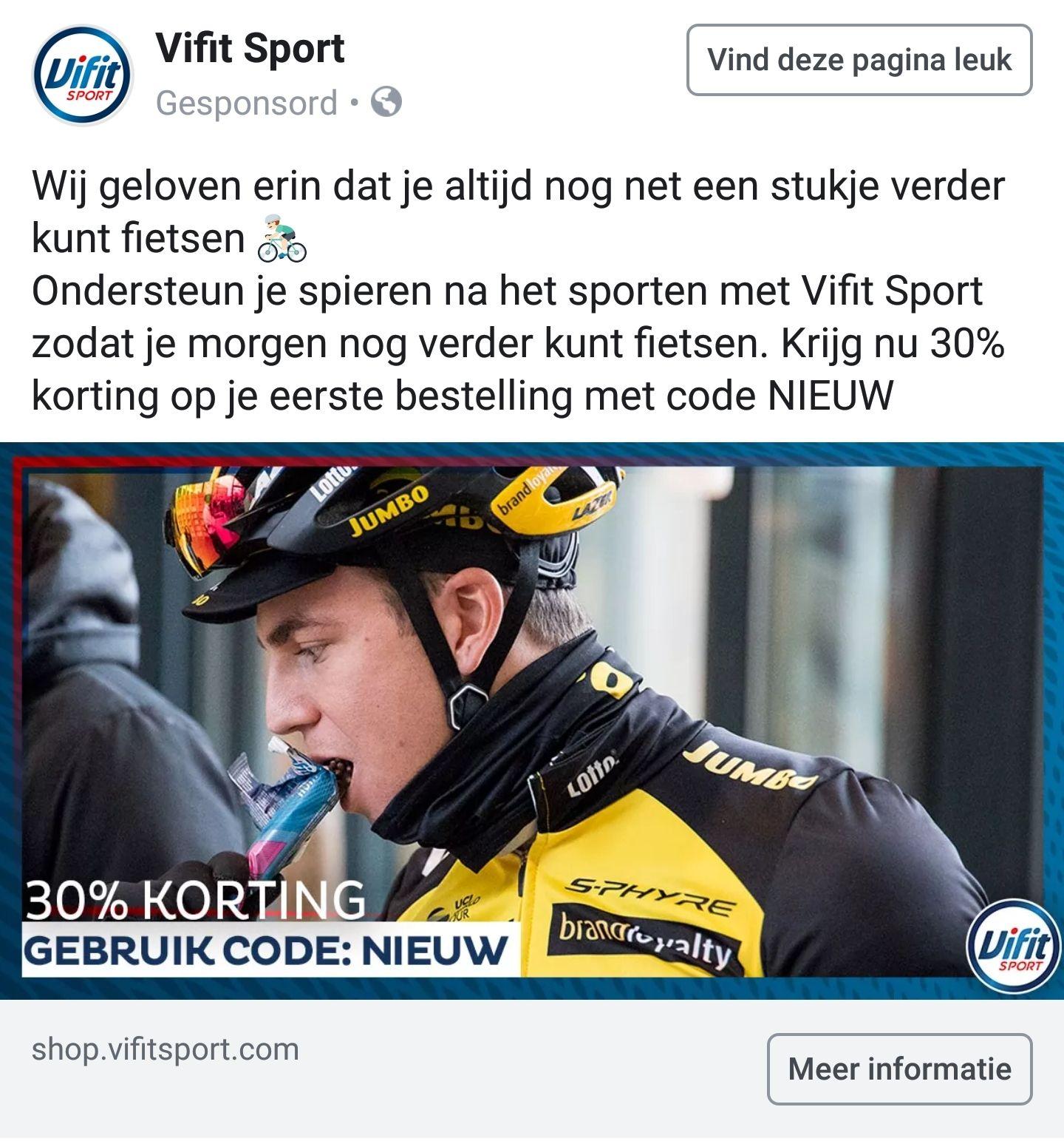 30% korting bij Vifit Sport bij eerste bestelling