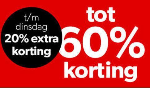 T/m dinsdag 20% extra korting op heel veel sale @ Wehkamp