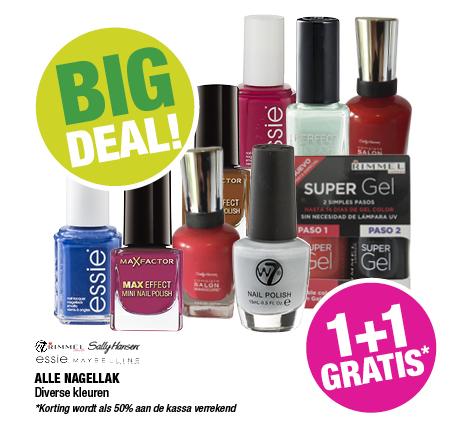 Alle nagellak 1+1 gratis - o.a. Essie en Sally Hansen - @ Big Bazar
