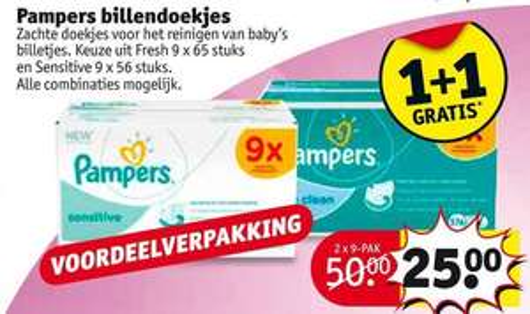 Pampers billendoekjes 1+1 gratis