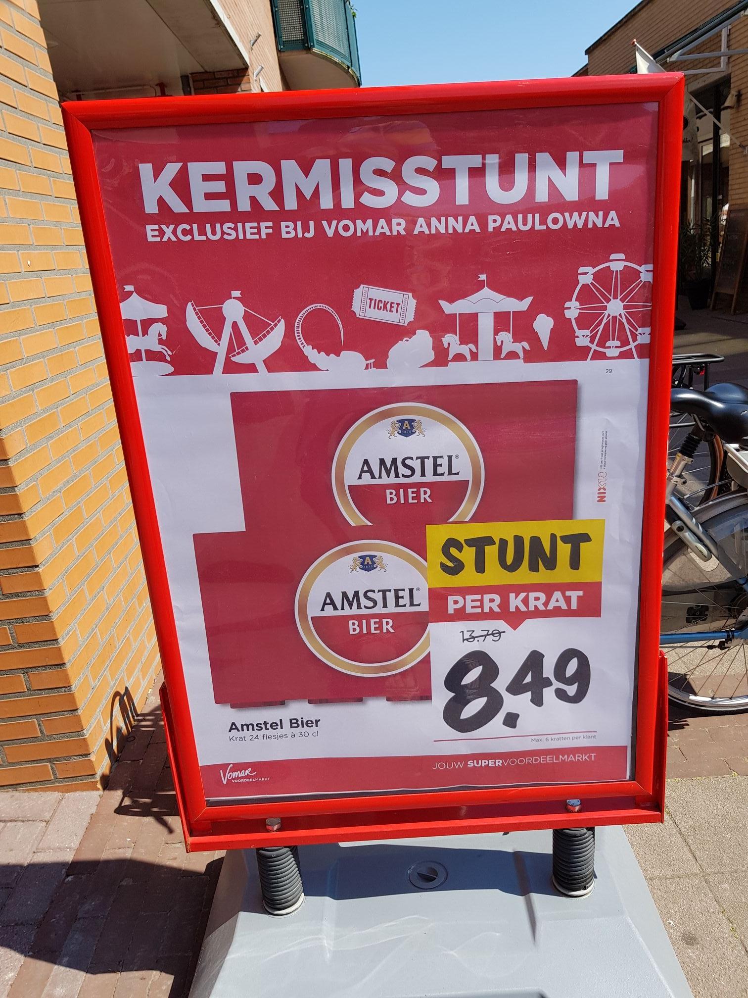 Bij Vomar Anna Paulowna kratje Amstel