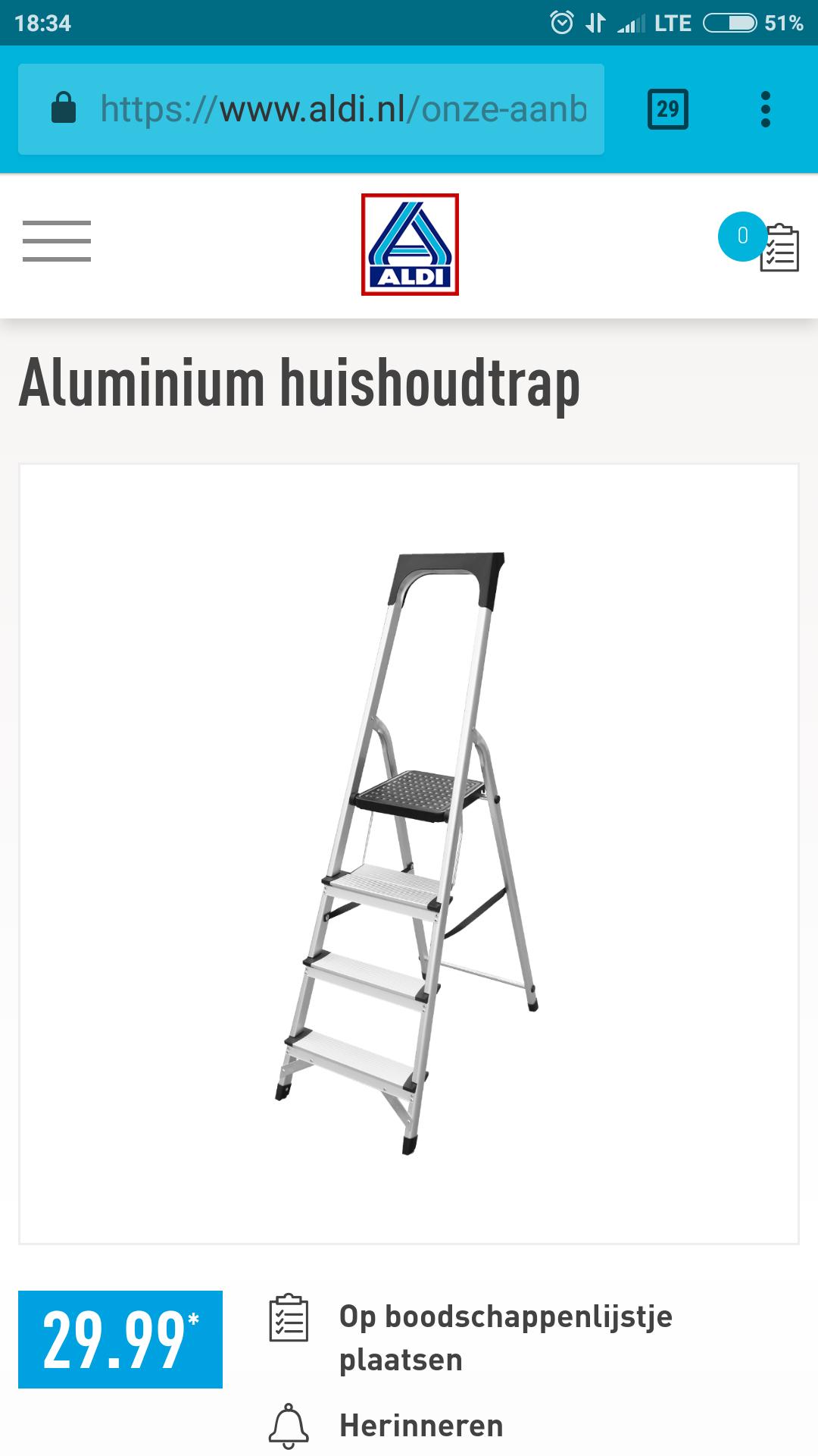 Aluminium huishoudtrap @Aldi