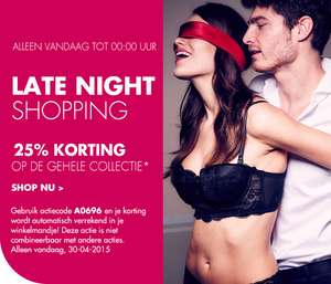 Late night shopping: 25% korting op gehele collectie tot 00:00 @ Pabo