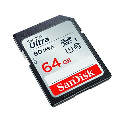 SanDisk Ultra geheugenkaart, tot 80 MB/s, Class 10, grijs, zwart 64 gb (Amazon Prime)