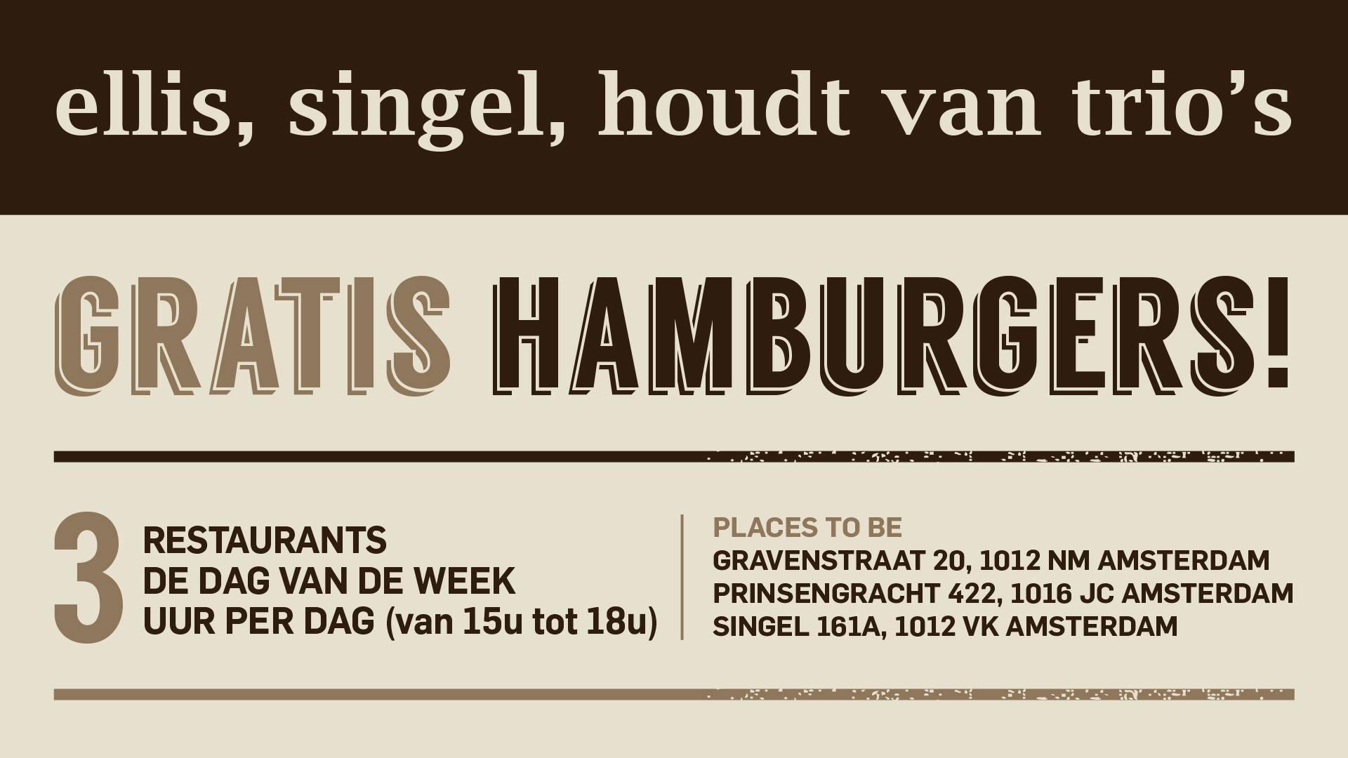 GRATIS hamburgers bij alle drie de Ellis Gourmet Burgers vestigingen (Amsterdam), vandaag (18 juli) en volgende week (25 juli) tussen 15.00 en 18.00.