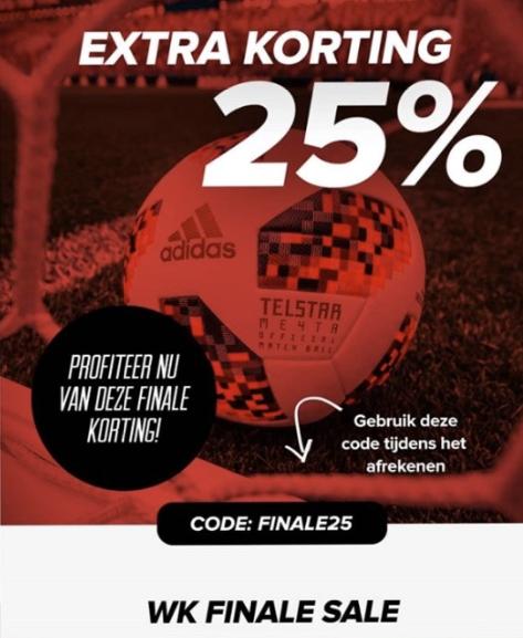 Code voor 25% (extra) korting op WK-collectie @ Voetbalshop